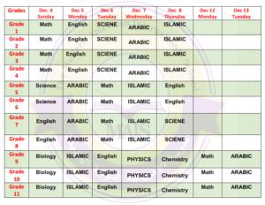 final-exam-schedule-first-term